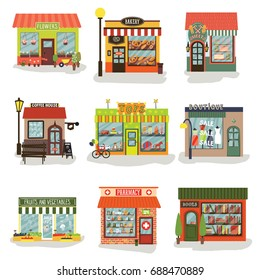 Set of vector restaurants and shops facade. Flower, sweets, book, toy shops, bakery, coffee, boutique, fruits and vegetable store, pharmacy. Vector banner. Store front.