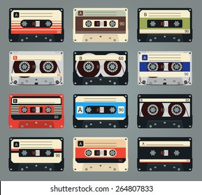 Set of vector retro audio cassettes. Tape and audio, music and sound, media and record
