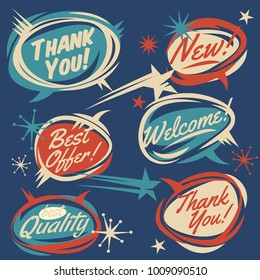 Set of vector retro design elements. Vintage 50s comic bubbles. Vector Illustration. Cartoon style lettering. Thank you. Welcome. Sale. Quality. Join. New.