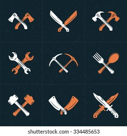 Set of Vector Retro Design Elements for Logotypes. Crossed Tools. Axes, Knifes, Hammer, Wrench, Spoon, Fork. Vector Illustration with White and Orange Elements on Dark Textured Background