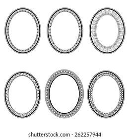 set of vector retro oval frame