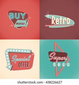 Set of vector retro signs elements