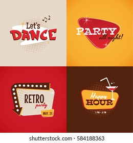 Set of vector retro signs elements. Dance party, Happy hour. Vector illustration.