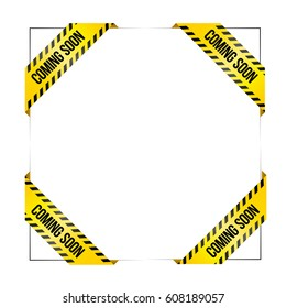Set of vector ribbons with text 'Coming soon'. Vector labels for missing products in web stores. Styled like caution tape, for industrial or service companies.