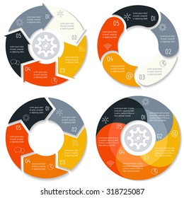 Set of vector round arrow infographic diagrams. Circular connected charts with 5 options. Paper progress steps for tutorial, manual. Spiral business concept sequence banner. EPS10 workflow layout.