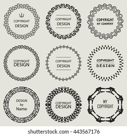 Set of Vector Round and Circle Ornament Frames for Copyspace Design. Special Circle Stamps. Monochrome Decorative Elements on Gray