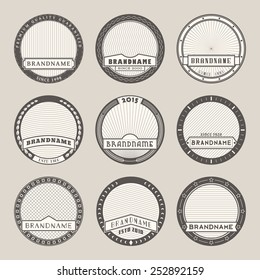 Set of vector round label templates.Logotypes and badges stencils with various design elements and symbols. Graphic collection for product promotion and advertising isolated on white background