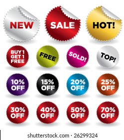 set of vector round stickers for retail and other use VOL. 4