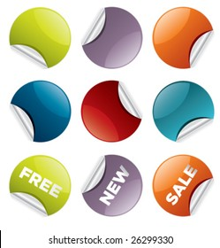 set of vector round stickers for retail and other use VOL. 2
