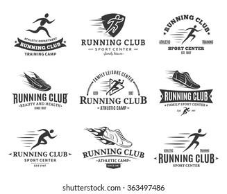 Set of vector running club logo