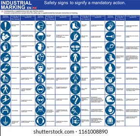Set of vector safety ISO signs, symbols to signify a mandatory action for applications by workers. International standard symbols. Vector graphic warning  symbols, marks.  Public infographic signs