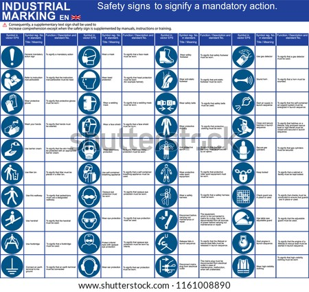 Set Vector Safety Iso Signs Symbols Stock Vector Royalty Free