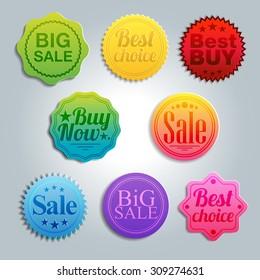 Set of vector sale labels.