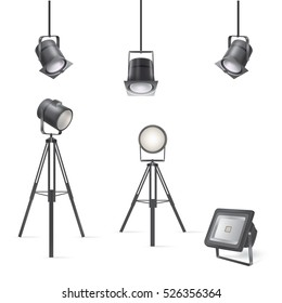 Set of vector scenic spotlights isolated on white background.