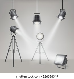 Set of vector scenic spotlights on a gray background.