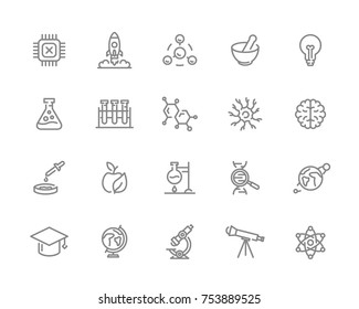 Set of vector science and research line icons. Chip, rocket, atom, ion, lamp, tube, bulb, neuron, brain, dna, molecule, lab, space, microscope, telescope and more.
