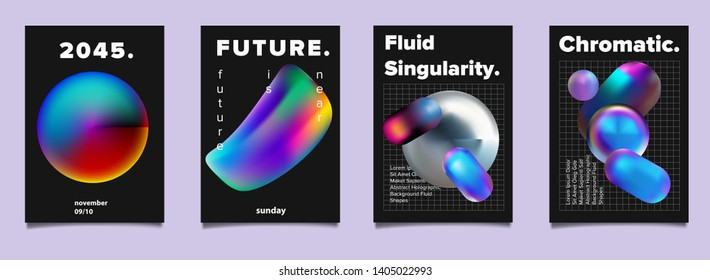 Set of vector sci-fi retrofuturistic posters for science or IT event. Vibrant fluid neon holographic 3d solids of matter on dark background. Geometric oily chromatic rainbow shapes.