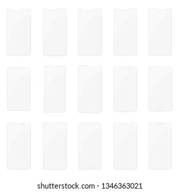 Set of vector screen protector film or glass cover. Screen protect Glass, mobile accessory.
