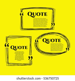 Set of vector scribble hand drawn quote boxes with text isolated. Quote, commas, message, blank, template, bubble