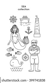 Set of vector sea icon. Lighthouse, sailor man and sea landscape in trendy linear style