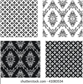 Set of vector seamless damask patterns and patterns with fleur-de-lis