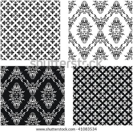 Set Vector Seamless Damask Patterns Patterns Stock Vector Royalty