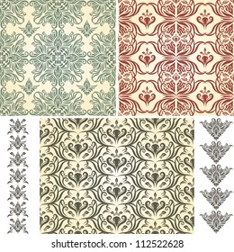 set of vector seamless floral patterns and brushes, retro seamless  brushes included, patterns in swatch menu, eps 8 fully editable