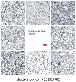Set of vector seamless floral patterns
