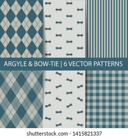 Set of vector seamless pattern. Argyle, tartan, bow-tie pattern in seafoam tones. Father's day party decor. Preppy fashion textile prints. Pattern tile swatches included