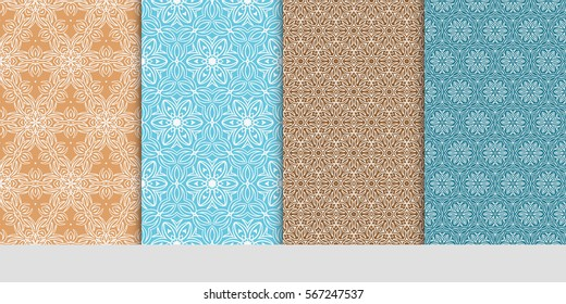 set of Vector seamless pattern. Geometric ornament with abstract flower. for design, wallpaper, invitation.
