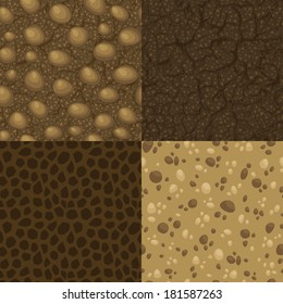Set of vector seamless pattern of ground inside