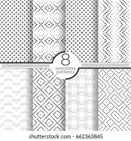 Set of vector seamless pattern. Infinitely repeating stylish elegant textures consisting of small rhombuses which form contemporary textured ornaments. Modern geometrical ornamental backgrounds