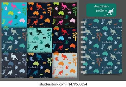 Set of vector seamless patterns of Australian symbols. Illustration of kangaroo, koala, lyre bird, platypus, echidna, bottle tree, Australia continent, word Australia background