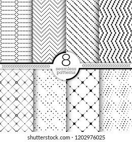 Set of vector seamless patterns. Classical geometric textures. Regularly repeating geometrical wrapping surfaces with different shapes, rhombuses, crosses, zigzags, dots Trendy graphic design.