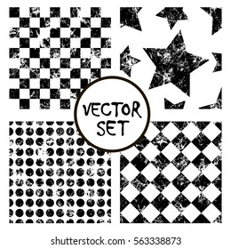 Set of vector seamless patterns Creative geometric black and white backgrounds with squares,stars,circles.Texture with attrition, cracks and ambrosia. Old style vintage design. Graphic illustration