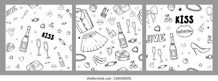 Set of vector seamless patterns with girls stuff. Fashion illustration with women's clothing, jewelry, cosmetics, gifts and romance. Actual vector drawing of cute things. Interests of a young girl.
