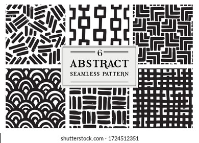 Set with vector seamless patterns. Modern stylish hand drawn textures. Simple graphic design.