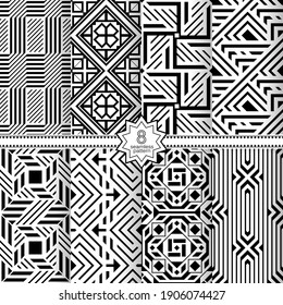 A set of vector seamless patterns. Modern geometric textures. Endlessly repeated geometric ornaments with various geometric shapes: crosses, triangles, rhombs, diamonds. Monochrome.