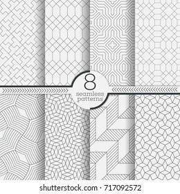 Set of vector seamless patterns. Modern stylish geometric textures. Infinitely repeating geometrical ornaments with different geometric shapes: Crosses, thin lines, triangles, rhombuses, diamonds