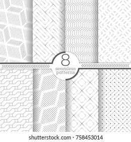 Set of vector seamless patterns. Modern stylish geometric textures. Infinitely repeating geometrical ornaments with thin linear shapes: zigzag, rhombus, diamond, dashed lines, rectangle, hexagon