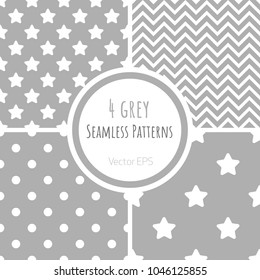 Set of vector seamless patterns with polka dots, zigzag and stars in pastel grey color
