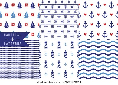 Set of vector seamless patterns with sea elements: lighthouses, ships, anchors, wind rose. Can be used for wallpapers, web page backgrounds. Six simple patterns