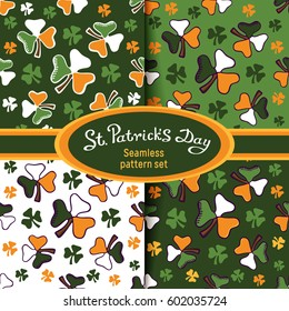 Set of vector seamless patterns. Shamrock Leaves on a color background. Lettering: St.Patrick's Day. For postcards, gift wrapping, scrapbook, wallpapers, textile, clothes and linen