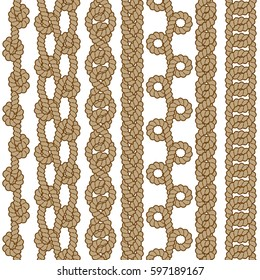 Set of vector seamless rope borders. Isolated on white