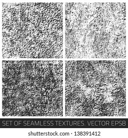 Set of vector seamless textures. Seamless pattern. Vector collection. Retro texture. Vintage texture. Dark texture. Old pattern. Old texture. Design elements. Abstract background