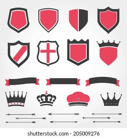 Set vector shields heraldic crowns ribbons arrows