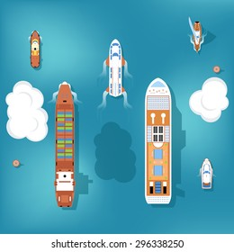 Set of vector ships. Top view. Yacht and travel, ocean and marine, cruise sea, transport boat and ship illustration