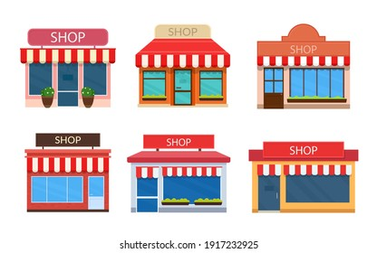 Set of vector shop buildings. Exterior store facade icon isolated on white background.