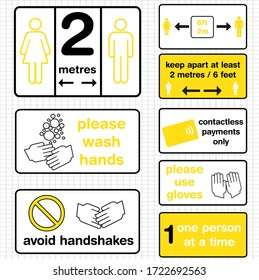 a set of vector sign graphics featuring social distancing and hygiene instructions