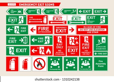 Set of vector signs of emergency exit and fire escape. Vector illustration.